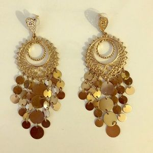 Gold Costume Dangle Earrings
